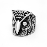 Gift Shiny Jewelry New Arrival Hot Sale Style Men Titanium Owl Stylish Vintage Ring [6526792835]