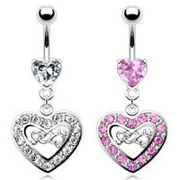 Steel Prong Set Heart Gem Pave Heart Sexy Word Middle Dangle Belly Navel Ring