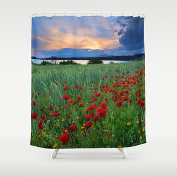 Spring poppies. Sunset at the lake. Shower Curtain by Guido Montañés