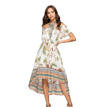 2018 Summer Women Boho Maxi Dress Off Shoulder Slash Neck Sexy Print Asymmetric Dresses Feminine Gown Flower Beach Dress