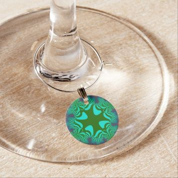 Green Rainbow Floral Star Wine Charm