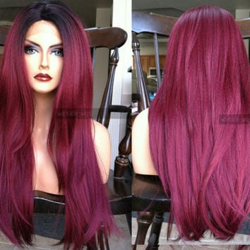 Red Lace Front Wig // Long Wine Red // OMBRE Burgundy Wig w/ Heat SAFE Black Dark Roots & Yaki Texture // #BK15