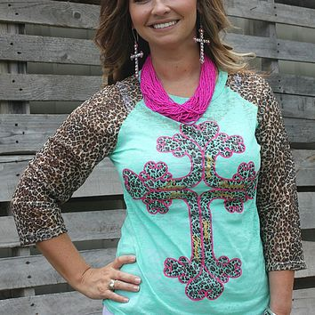 Hot Pink and Leopard Inspirational Cross on Mint Baseball Burnout Tee