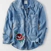 AEO Embroidered Denim Shirt Jacket, Rose