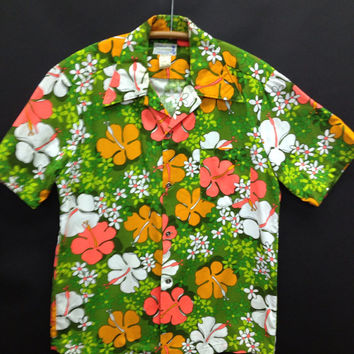 Hukilau Hawaiian Shirt Men's Vintage Barkcloth size large