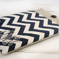 Monogrammed Navy Blue Chevron and Linen iPad & Tablet Case or Macbook & Laptop Case