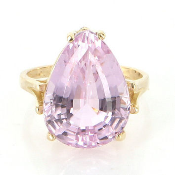 Vintage 14 Karat Yellow Gold Kunzite Cocktail Ring Fine Estate Jewelry Pre-Owned