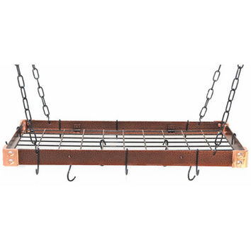 Rogar KD Rectangular Hanging Pot Racks with Grid In Hammered Copper and Black
