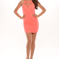 Cage Neck Dress - Neon Pink