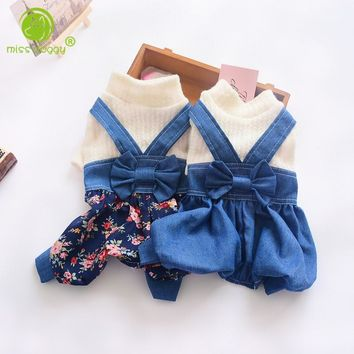 Trendy Floral Dog Jumpsuit Spring Pet Dog Clothes Dog Coat Denim Jacket Four Feet Clothes For Small Dogs Clothing Puppy Cat Overalls AT_94_13
