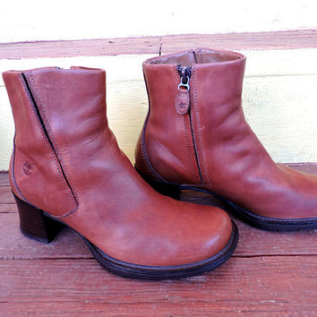 90s Chunky ankle boots 7 / Timberland leather boots / cognac brown leather ankle boots