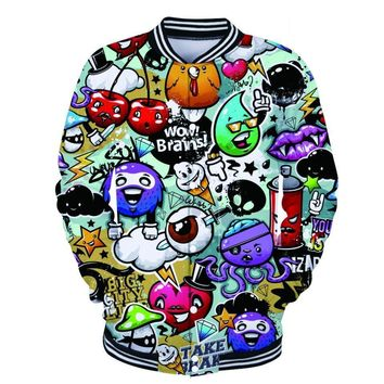 Trendy Hip Hop Graffiti Art Jacket Hipster Painting 3d Baseball Jackets Men and Women Fashion Long Sleeve Outerwear Cool Plus SizeCoats AT_94_13
