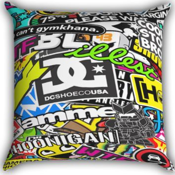 Sticker Bomb Artwork Zippered Pillows  Covers 16x16, 18x18, 20x20 Inches