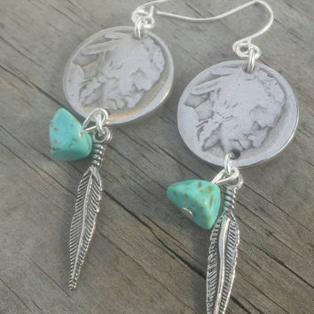 Buffalo coin earrings. Western feather earrings. Indian head nickel jewelry. Tribal turquoise earrings. Coin jewelry.  Gift for her