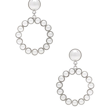 Alessandra Rich Hoop Earrings in Pearl | FWRD