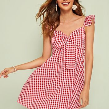 Gingham Ruffle Trim Knot Dress