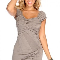 Taupe Sleeveless Style Pleated Party Dress