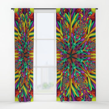 Crazy colors 3D mandala Window Curtains by Natalia Bykova
