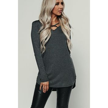Intuitive Criss Cross Top (Charcoal)