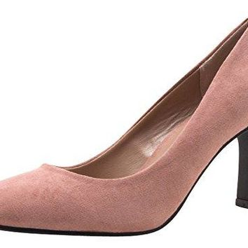 Cambridge Select Womens Closed Almond Toe SlipOn Flared Sculptural Heel Pump