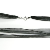 Rhodium On .925 Sterling Silver Black 3mm 4-layer Ribbon Cord Choker Necklace 18 Inches with Spring Ring Clasp