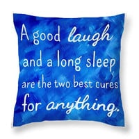 Inspirational Quote Pillow Royal Blue Decor - Blue Throw Pillows with Quotes - Funny Art Throw Pillow - Decorative Bedroom Pillows Square