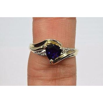 10k Yellow Gold .80 ct Sapphire & Diamond Friendship Ring Trillion Blue Size 7