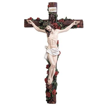 """12.5"""" Wall Crucifix with Roses"""