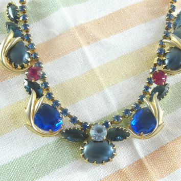 Crystal and Cabochon Necklace Raspberry and Cobalt Blue Gold Toned