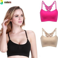 Women Fitness bra| Running Yoga Stretch Crop Top Seamless Sports Solid Padded Bra [8069651527]