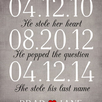 Wedding Sign, Subway Date Art 8x10 - He Stole her Heart, She Stole his Last Name, He Popped the Question, Important Dates, Anniversary Gift