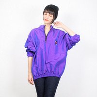 Vintage Purple Jacket Bomber Jacket Windbreaker Jacket Iridescent Purple Surf Style Pullover New Wave Surfer Day Glow 1980s 80s M L Large