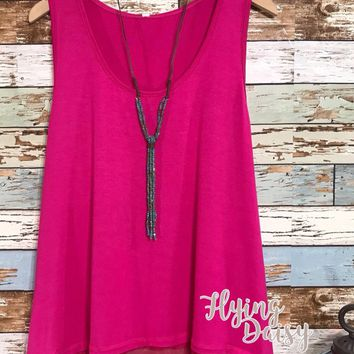 Hot Pink Lace Extender Tank Top