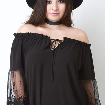 Off The Shoulder Embroidered Mesh Sleeve Peasant Top