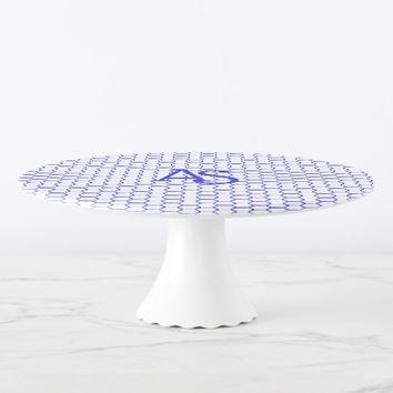 Blue pattern. Hexagonal grid. Monogram. Cake Stand