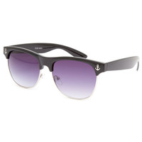 Full Tilt Anchor Clubmaster Sunglasses Black One Size For Women 23886910001