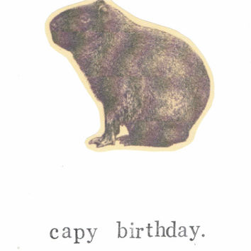 Capy Birthday Funny Capybara Card Vintage Animal Humor Guinea Pig Rodent Nerdy Pun Happy Birthday Men Dad Weird Hipster Rustic For Him