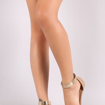 Bamboo Metallic Ankle Strap Nubuck Pointy Toe Flat