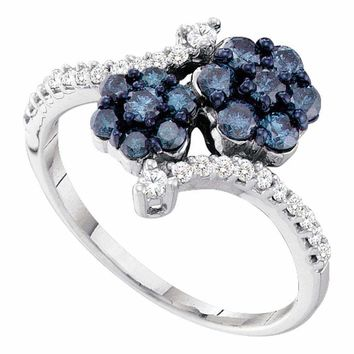 10kt White Gold Women's Round Blue Color Enhanced Diamond Double Flower Cluster Ring 3-4 Cttw - FREE Shipping (USA/CAN)