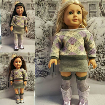 "18 inch doll clothes  ""Lavender Plaid"" 18 inch doll outfit will fit American Girl®  fall or winter ensemble OOAK"