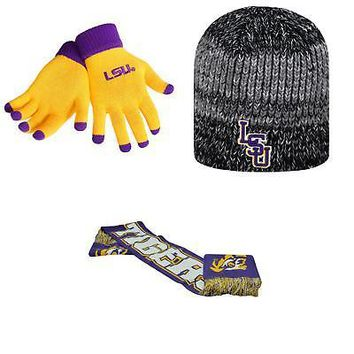 Licensed NCAA LSU Tigers Spirit Scarf Leeward Beanie Hat And Glove Solid Knit 3Pk 04307 KO_19_1