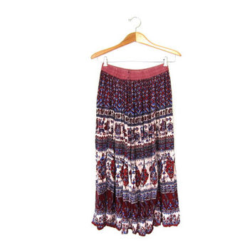 Vintage Long India Skirt. Ethnic Midi Skirt. Tribal Floral Skirt. Gypsy Festival Rayon Skirt.