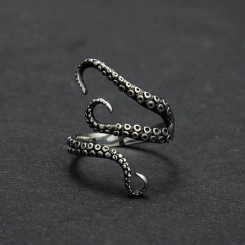 Trendy Twister Steel Octopus Rings Punk Rock Adjustable Animal Finger Ring Women Men Fashion Jewelry Anillos Mujer BS4-0083