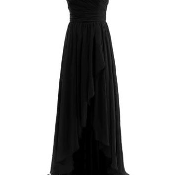 Diyouth Long High Low Bridesmaid Dresses Sweetheart Formal Evening Gowns