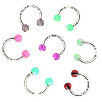ac DCCKO2Q 2017 new hot 20pcs / lot Colorful Stainless Steel Ball Dumbbell Curved Nose Studs Rings Bars Piercing Jewelry Cosmetic Tool