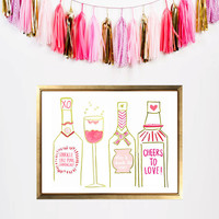 Pink Bar Cart Print (Limited Edition through Valentines Day)