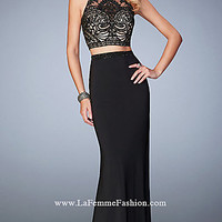 Two Piece Gigi by La Femme Long Prom Dress LF-22581