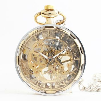 20pcs/lot Men's Mechanical Pocket No Cover pocket Watches Skeleton Watches  Father's Day Gift Watch