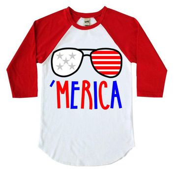Merica Sunglasses Kids Raglan Shirt