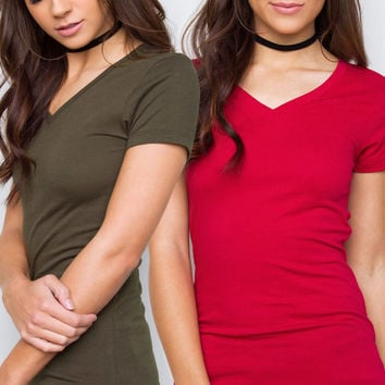 Allie Classic V-Neck Tee Set - Olive & Red